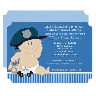 Cartão O chá de fraldas do bilhete do agente da polícia
