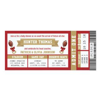 Cartão O chá de fraldas do bilhete dos esportes convida o