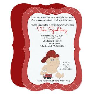 Cartão O chá de fraldas do bombeiro do sapador-bombeiro