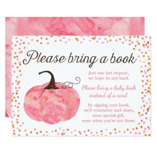Cartão O chá de fraldas do rosa da abóbora da aguarela