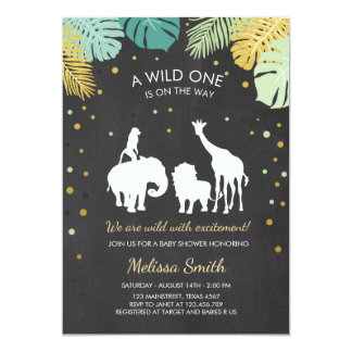 Cartão O chá de fraldas do safari convida animais