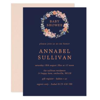 Cartão O chá de fraldas floral da grinalda do marinho e