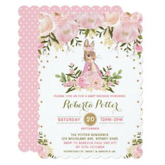 Cartão O chá de fraldas floral do coelho de coelho do