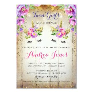 Cartão O chá de fraldas floral do unicórnio do brilho de