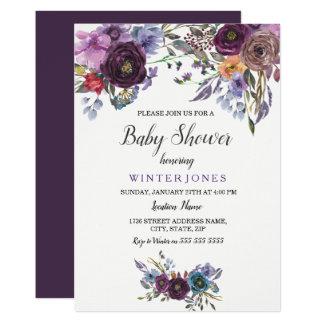 Cartão O chá de fraldas floral roxo elegante do inverno