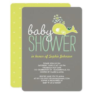 Cartão O chá de fraldas grávido do menino da menina da