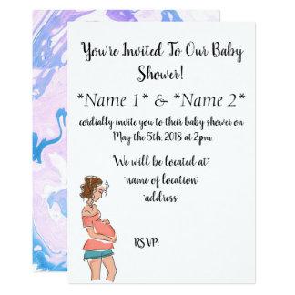 Cartão O chá de fraldas grávido projetado simples da mamã