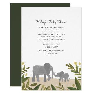 Cartão O chá de fraldas pequeno do elefante convida