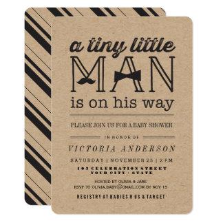 Cartão O chá de fraldas pequeno do menino do laço do