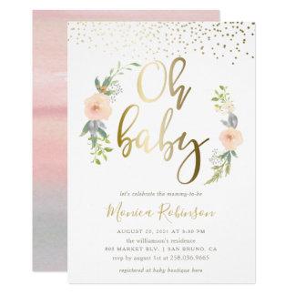 Cartão O chá de fraldas pintado à mão da respiração do