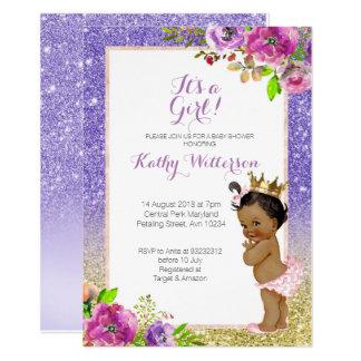 Cartão O chá de fraldas roxo do ouro do afro-americano