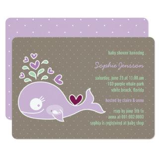 Cartão O chá de fraldas roxo grávido lunático da baleia