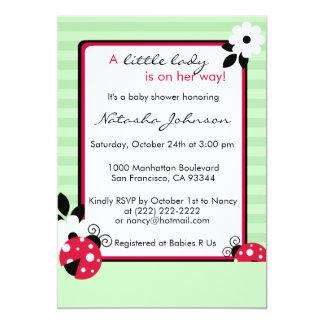 Cartão O chá de fraldas vermelho bonito do verde da