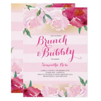 Cartão O chá de panela convida, refeição matinal & flores