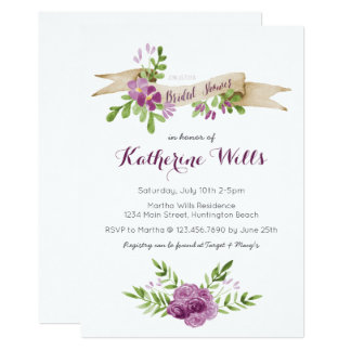 Cartão O chá de panela das flores da aguarela convida