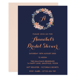 Cartão O chá de panela floral da aguarela do monograma