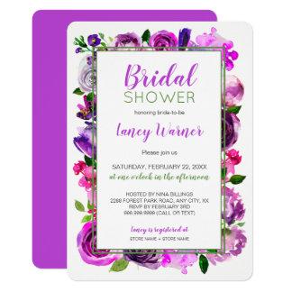 Cartão O chá de panela floral da mistura da aguarela roxa