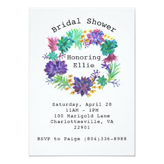 Cartão O chá de panela floral & do Succulent da grinalda