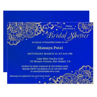 Cartão O chá de panela indiano dos azuis marinhos da