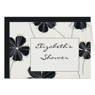 Cartão O chá de panela preto e branco do vintage convida