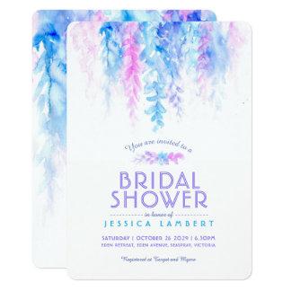 Cartão O chá de panela roxo azul da videira da aguarela
