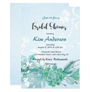 Cartão O chá do casal nupcial romântico do Succulent do