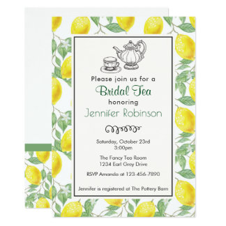 Cartão O chá nupcial do teste padrão amarelo do limão