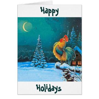 Cartão o chanticleer os feriados está aqui outra vez