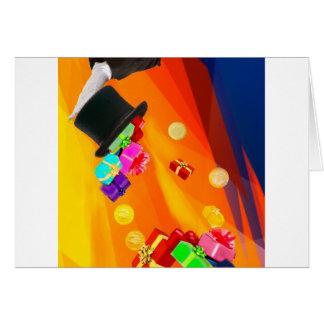 Cartão O chapéu do mágico traz-lhe presentes dourados