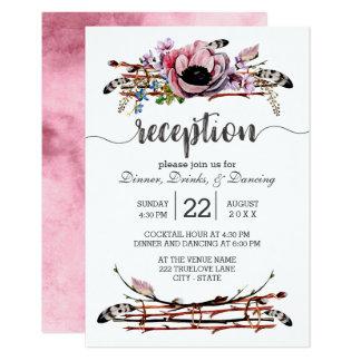 Cartão O chique de Boho cora recepção de casamento floral