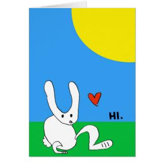 Cartão O coelho bonito diz o HI