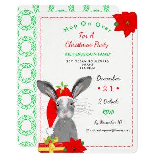Cartão O coelho de coelho irrisório do Natal convida