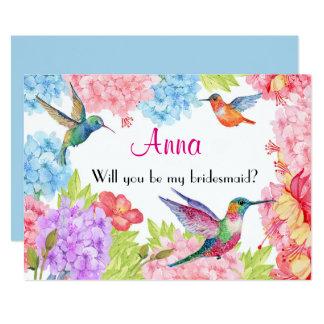 Cartão O colibri floral seja minha dama de honra?
