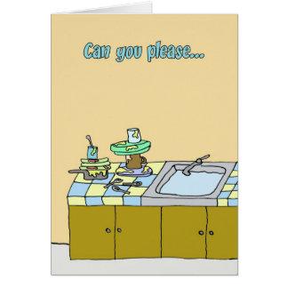 Cartão O companheiro de quarto precisa de ajudar em torno