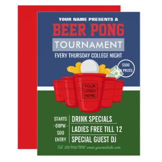 Cartão O competiam de Pong da cerveja da faculdade