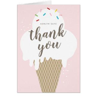 Cartão o cone do sorvete caçoa o obrigado que cor-de-rosa