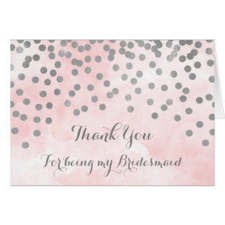 Cartão O confete cor-de-rosa da prata da aguarela