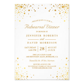 Cartão O confete moderno do ouro pontilha o jantar de