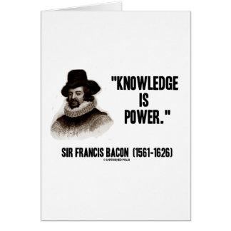 Cartão O conhecimento do senhor Francis Bacon é citações