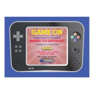 Cartão O console do menino do Gamer da festa de