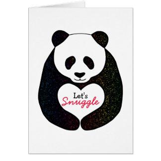 Cartão O coração da panda do arco-íris deixou-nos Snuggle