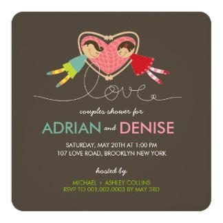 Cartão O coração do amor da menina do menino dos desenhos