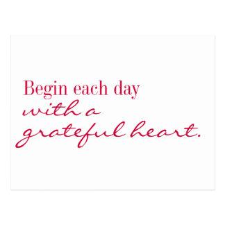 Cartão - o coração grato inspira e incentiva