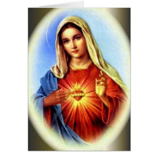 Cartão O coração imaculado da Virgem Maria abençoada