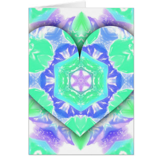Cartão O coração legal do verde 3d da hortelã da lavanda