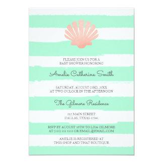 Cartão O coral de Shell de Scallop | & Mint o chá de
