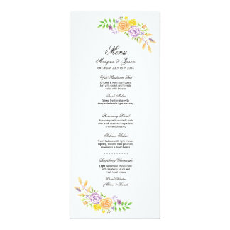 Cartão O coral roxo da recepção de casamento do menu