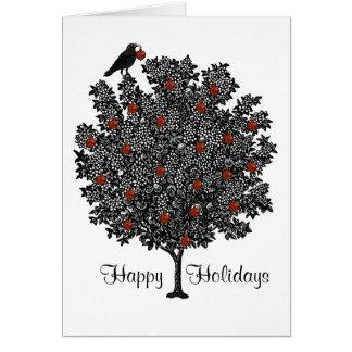 Cartão O corvo decora a árvore de Natal