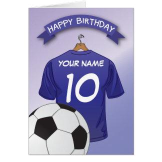 Cartão O costume azul da camisa do futebol do futebol