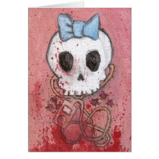 Cartão O crânio feminino com arco azul/morre para a